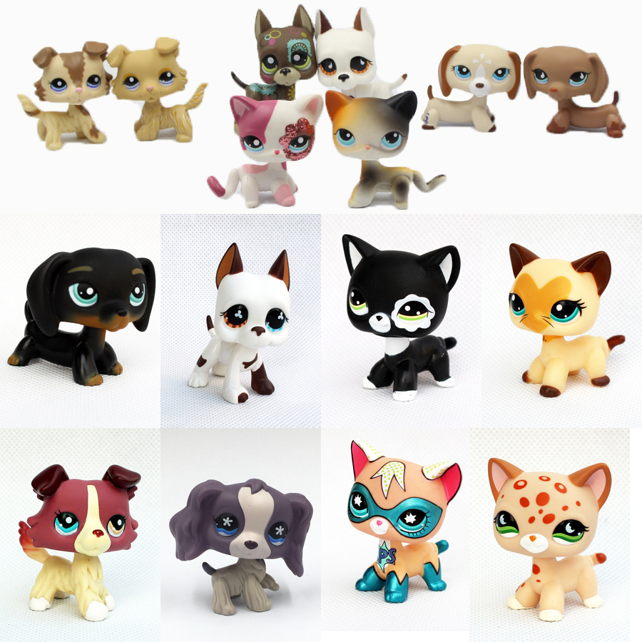 pet shop lps toys standing cat toys dog collie dachshund cocker spaniel great dane rare short hair kitten original free shipping