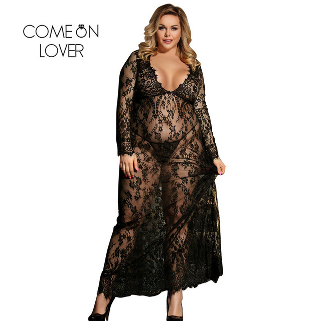 Comeonlover Plus Size Black White Long Sleepwear Lace Gown See Through Sheer Long Sleeve Lace Nightgowns Vestidos Sexys Eroticos 2