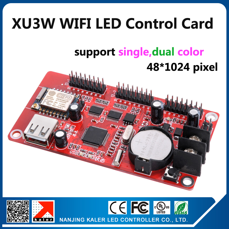 XU3W 48x1024pixel support single color red blue yellow red p10 led sign board running text USB and WIFI control card with app image