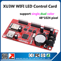 XU3W  48x1024pixel support single color red blue yellow red p10 led sign board running text USB and WIFI control card with app