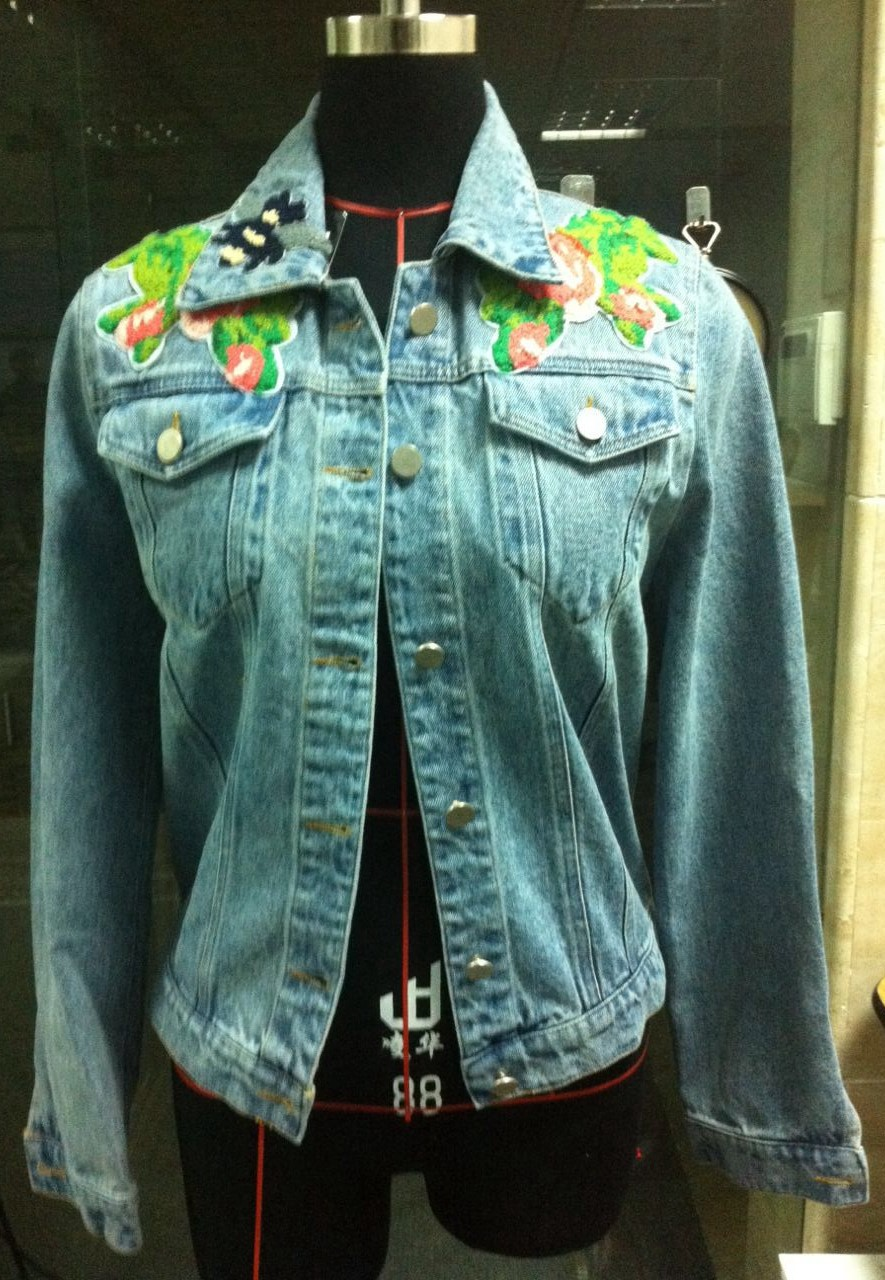 Arlene Sain 2017 spring new fashion style Appliques High Waist font b Jean b font Coat