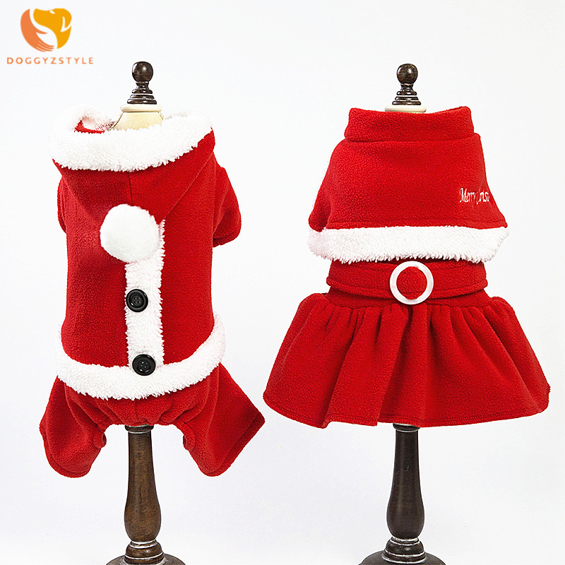 DOGGYZSTYLE Pets Dog Christmas Clothes Warm Jumpsuit Coat Puppy Winter Xmas Red Dress Love