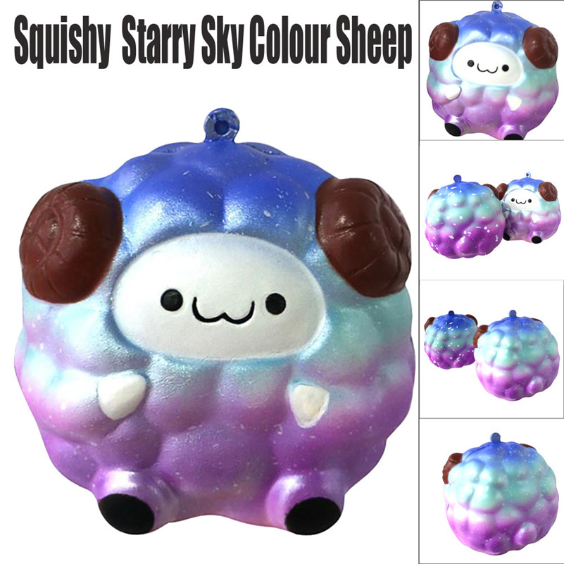 Cute Mochi Soft Sheep Cartoon Squishy Slow Rising Squeeze Stress Reliever Toy Phone Straps Ballchains For Children For Kid A1