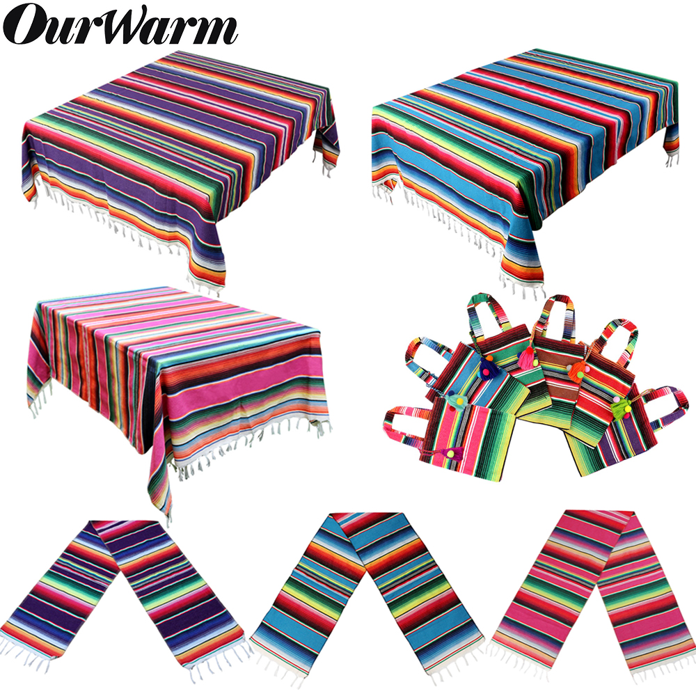 OurWarm Mexican Party Supplies Pink Blue Table Runner Serape Blanket Tablecloth Gift Bag Mexican Fiesta Party Wedding Home Decor
