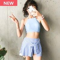 Two Piece Swimsuit Teenager Girl Stripe Skirt Swimwear Crop Top Bandeau Women Retro Sport Beach Bathing Suit Halter Tankini