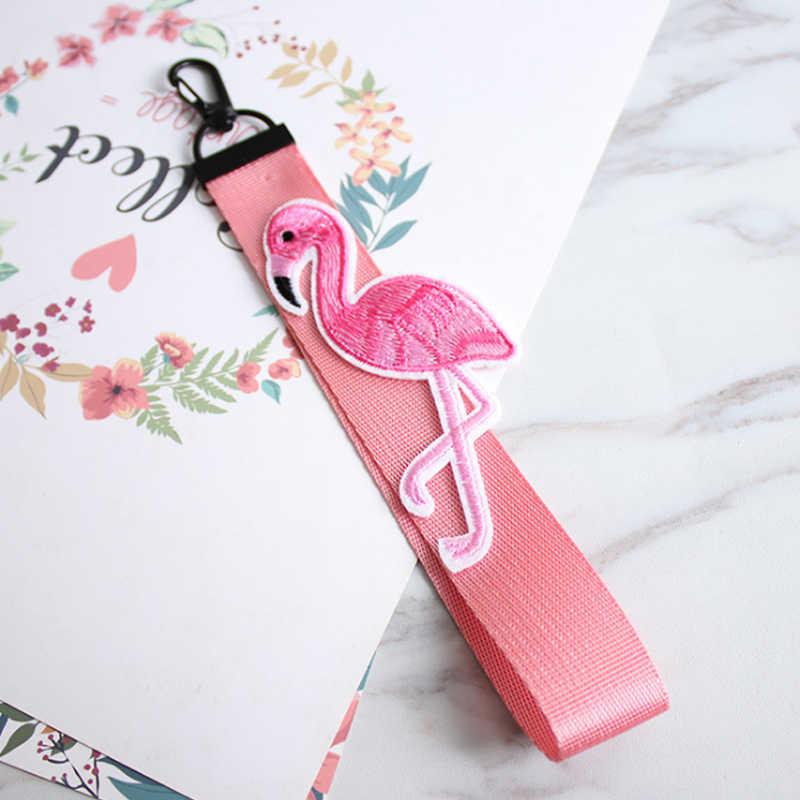 Hot śliczne różowa wstążka Flamingo zespołu brelok dla torba kobieca brelok samochodowy krótkie i długie wstążki dla przypadku telefonu portfel brelok do kluczy
