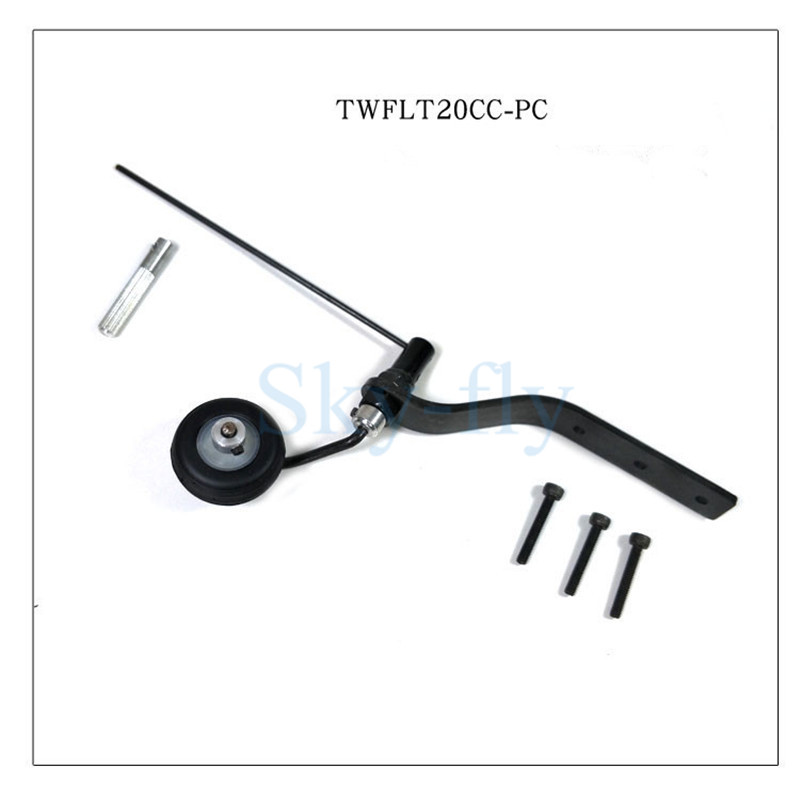 20cc RC Airplane Landing Gear Tail Wheel Assembly With Sponge Wheel Kit image