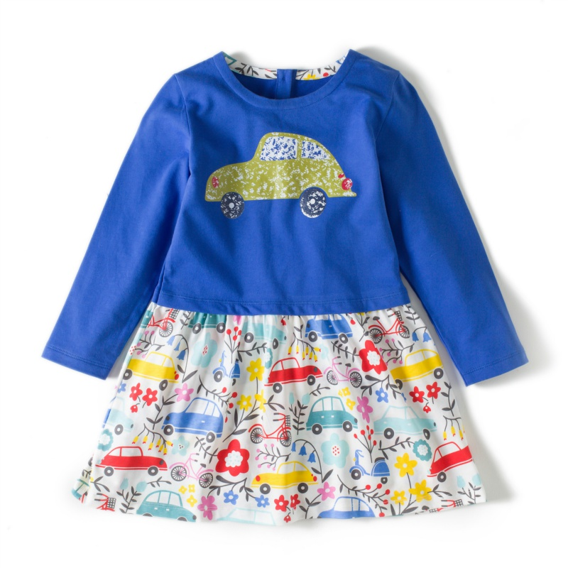 2018 Autumn High Quality Girls Dress Cute Cartton Ducks Cars Dragonflies 3 Kinds Printing Cotton Children Dresses 2~6Y G9