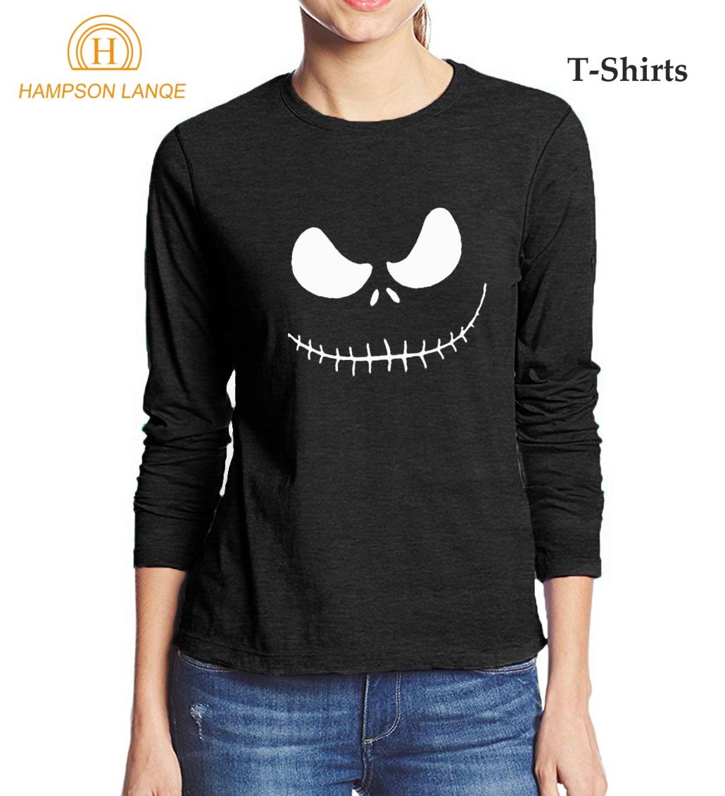 Jack Skellington Evil Face Printed Kawaii T-Shirt 2017 Autumn 100% Cotton High Quality Women Long Sleeve T Shirt Punk Tops