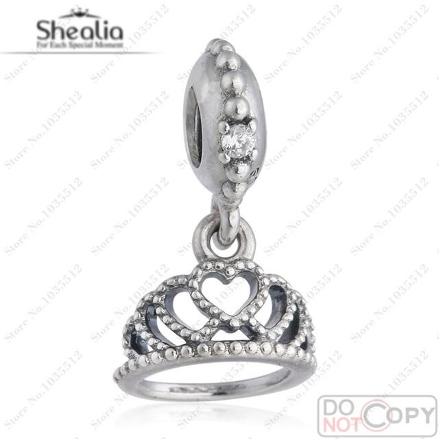 Cupieron la pulsera europea DiyTiara cuelga con Micro CZ y los detalles del corazón 925 joyería de plata esterlina corazones Tiara Charm colgante DG166