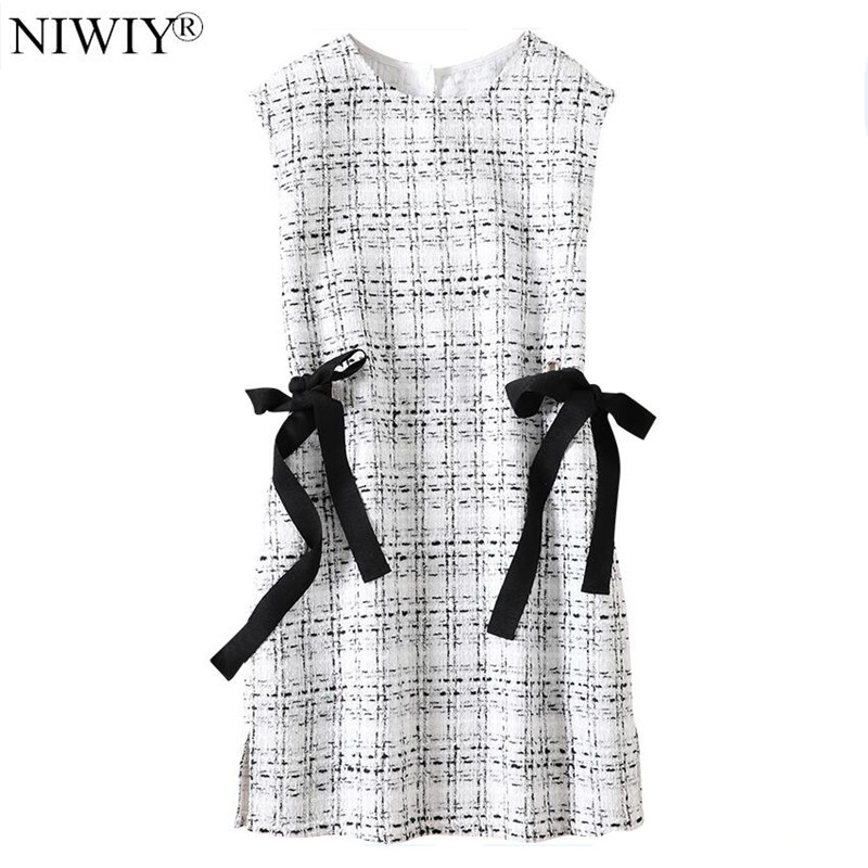 NIWIY Brand Dress Women Autumn Bowknot Sleeveless Knit