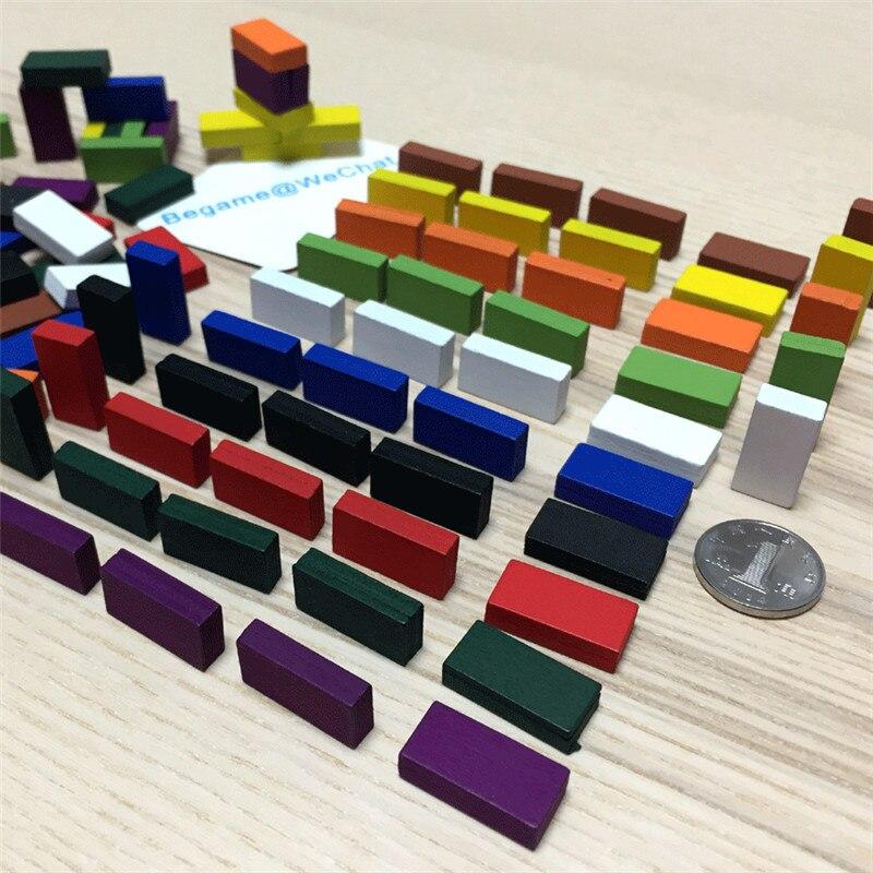 50 Pcs 20*10*5 milímetros Colorido Tijolo marca Cubóide peças Do Jogo De Xadrez De Madeira Para fichas de Jogos de Tabuleiro acessório 10 Cores