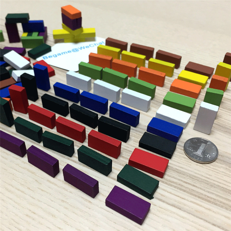 50Pcs 20*10*5mm Colorful Brick Marks Cuboid Wood Chess Game Pieces For Tokens Board Games Accessory 10 Colors
