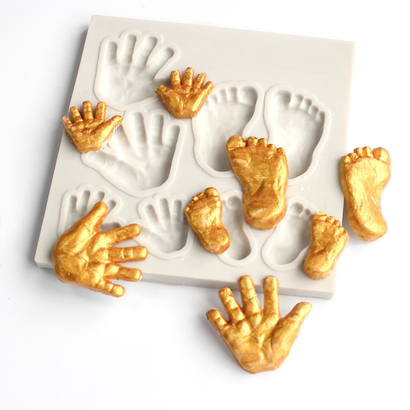Hand Feet Mould Fondant Cupcake Molds Silicone Mold Sugar Candy Chocolate Gumpaste Mould Cake Decorating Tools