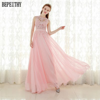 Robe De Soiree A Line Pink Chiffon Long Evening Dress Party Elegant Sexy Sheer Back Real