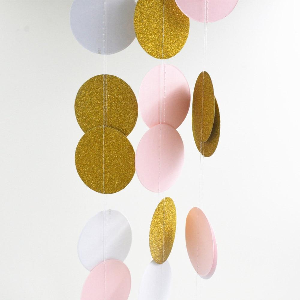 Dzirkstošais papīrs Garland Bunting par kāzu un ballītēm, rozā balta zelta krāsa papīra fotogrāfiju balsts Garland Circle