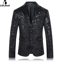 Loldeal Black Blazer Men Paisley Floral Pattern Wedding Suit Jacket Slim Fit Stylish Costumes Stage Wear For Singer Mens Blazers