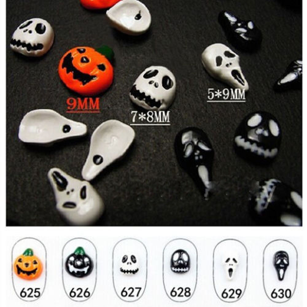 6pc Halloween Skull Bone Nail Art Sticker 1