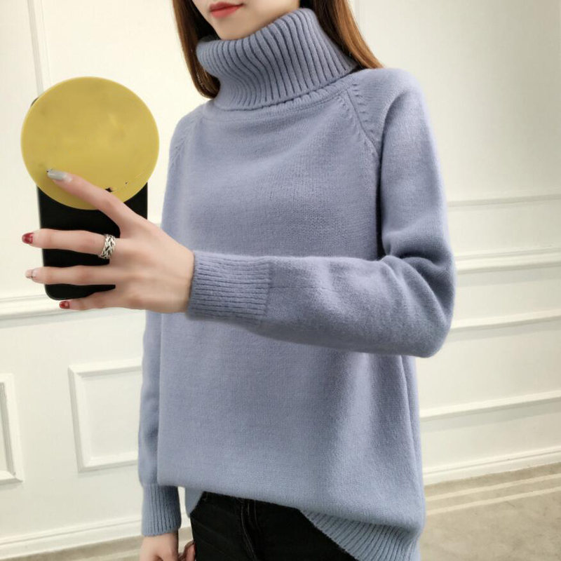 High Collar Knit Cashmere Sweater Women Large Size Loose Sweaters Spring New 2018 Fashion Warm Bottom Female Sweater Slim LJ0686