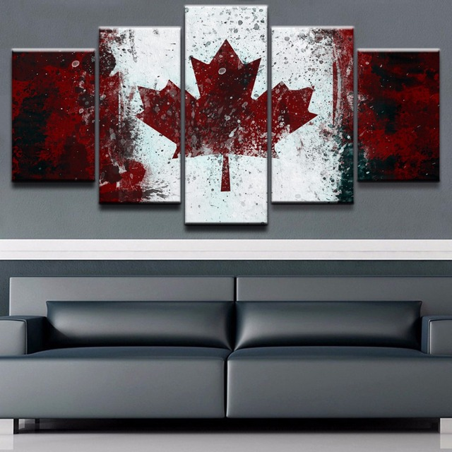 Home Decor Picture Modular Art Wall Posters Framework 5 Panel Flag Of Canada Living Room Modern