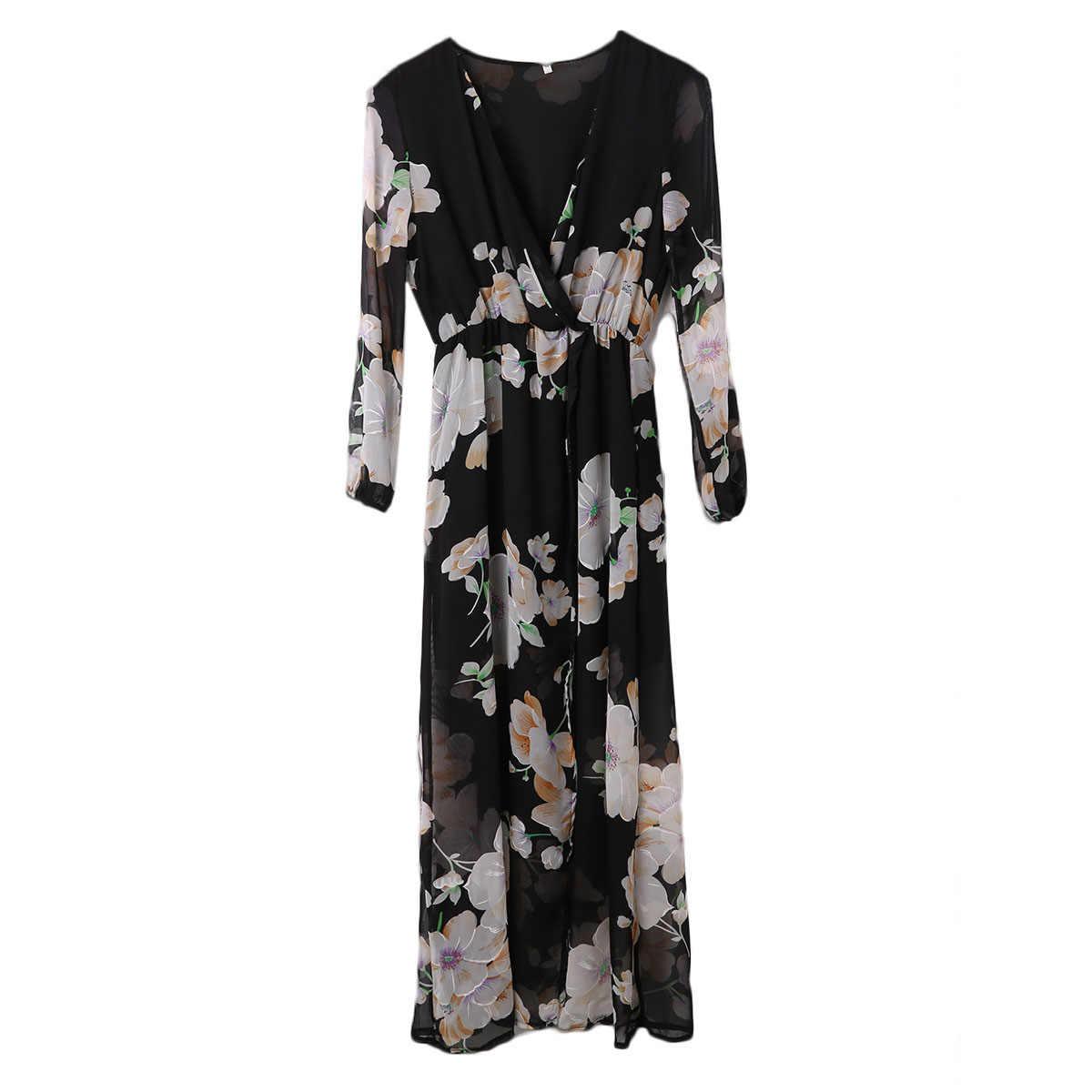 Hirigin 2017 Для женщин Дамы Цветочный принт с длинным рукавом глубокий v-образным вырезом черный Цвет Boho Вечеринка длинное платье