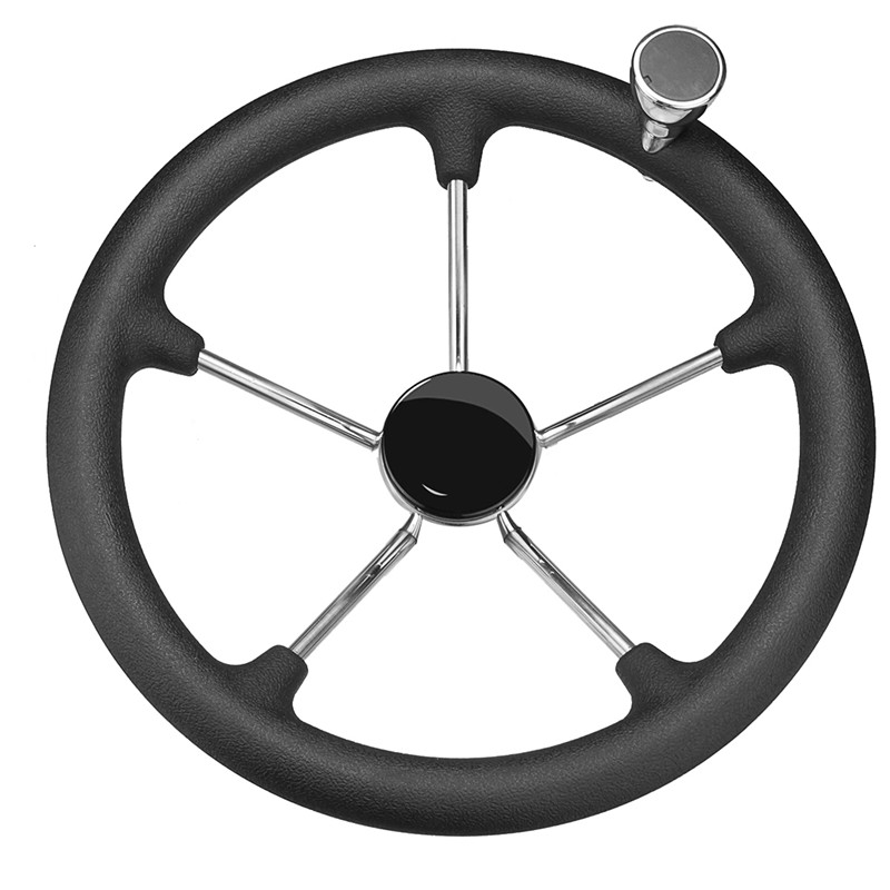 13-1/2 Boat Marine 5 Spoke Destroyer Steering Wheel with Black Foam Grip Knob Fits Standard 3/4 (1.91cm) Tapered Shaft Polished helo he866 gloss black wheel with chrome accents 20x8 5 6x135mm