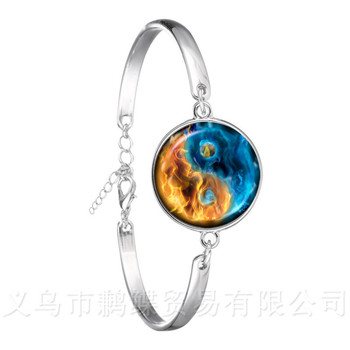 Yin Yang Glass Cabochon Bracelet 18mm Glass Dome Silver Plated Bangle China Tia Chi Jewelry YinYang Jewelry Gift For Friends image