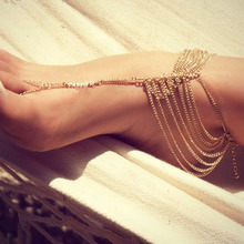 1PC Gold Color Multilayer Tassel Chains Toe Harness Ankle Anklet Chain Foot Beach Jewelry