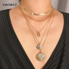 IngeSight.Z Bohemian Multi Layered Choker Necklace Collar Statement Alloy Cowrie Shell Scallop Pendant Necklace Women Jewelry attractive solid color pendant multi layered women s necklace