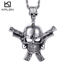 Kalen 2016 New Male Costume Accessory 316L Stainless Steel High Quality Gun&Skull Cool Pendant Necklace Punk Cheap Biker Jewelry