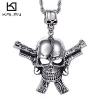 Kalen 2017 New Male Costume Accessory Stainless Steel High Quality Gun Skull Cool Pendant Necklace Punk