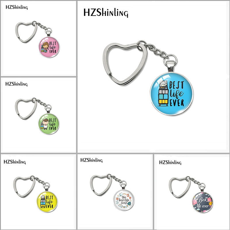 2018 New Best Life Ever Keyring Heart Key Chain Hand Craft Jewelry Glass Dome Cabochon Accessory For Women
