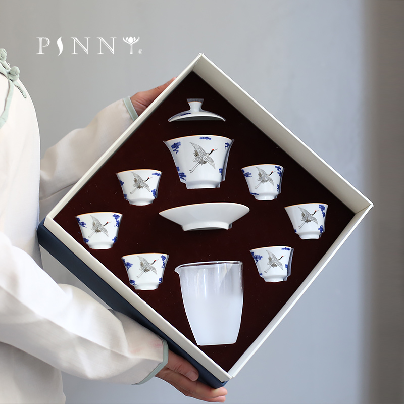 PINNY 8 Set Blue And White Porcelain Crane Teaware Sets Chinese Kung Fu Tea Set Hand Made Porcelain Tea Cup Gaiwan Tea Service