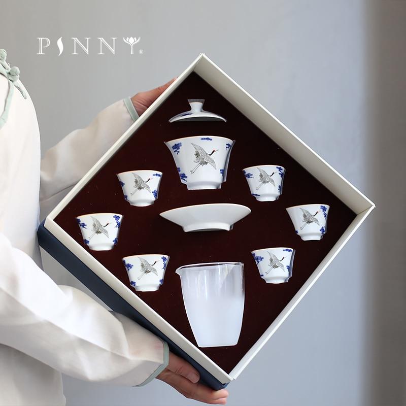 PINNY 8 Set bleu et blanc porcelaine grue Teaware ensembles chinois Kung Fu thé ensemble fait à la main porcelaine thé tasse Gaiwan thé Service