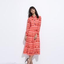 Custom Plus Size Dress S-7XL 2017 Sping Newest Casual Turn-Down Collar Gutch Letter Print Fashion Mid-Calf A-Line Dress Women