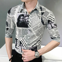 2019 mens fashion casual seven-sleeve printed newspaper shirt  men social business dress brand male soft and comfortable