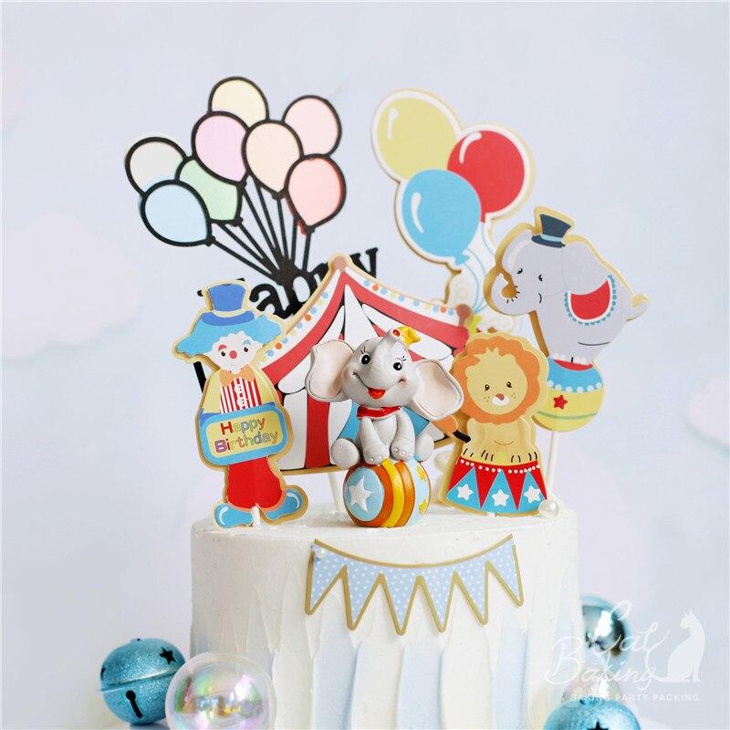Ins цирк и клоун торт Топпер для вечерние выпечки на день рождения цветные воздушные шары украшения для детей милые подарки для детей