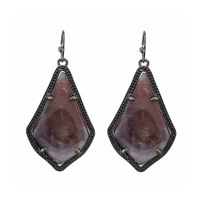 Trendy KS Alex Black Earrings Semi precious Stone Earrings Fashion Modern Jewelry for Women Wholesale Gift