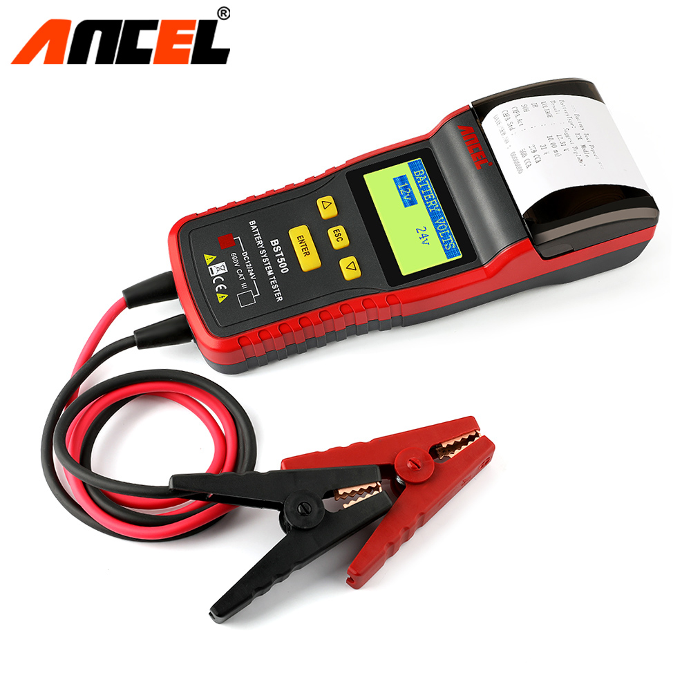 Ancel Bst500 Car Battery Tester With Thermal Printer 12V & 24V Car Truck Battery Analyzer Detect Bad Battery Diagnostic Tool