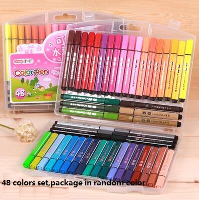 48 pcs/lot 48 colors Watercolor pen Set for Photo album decoration Stationery Markers Highlighter Free shipping