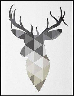 Us 805 Nordic Deer Szary Plakat Art Na Płótnie Plakat Artystyczny Pop Art Głowa Jelenia Sztuki Nadający Się Do Wydruku Geometryczne Zwierzęta