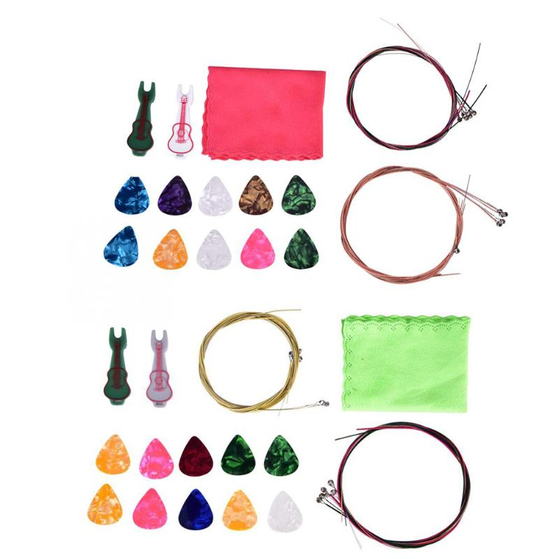 2019 Latest Design Acoustic Guitar Accessories Kit Set String Pin Peg Picks Cleaning Cloth Musical Instruments Folk Guitar Parts Guitar Strings