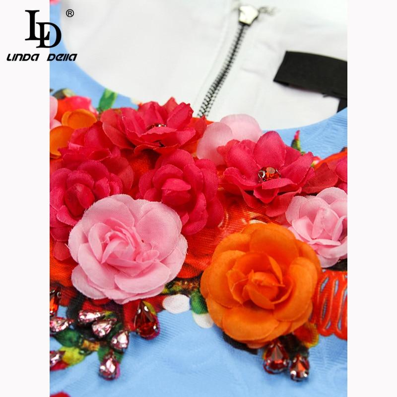 LD LINDA DELLA 2019 Fashion Runway Summer Dress Women's Sleeveless Gorgeous Floral Appliques Tassel A Line Elegant Mini Dress