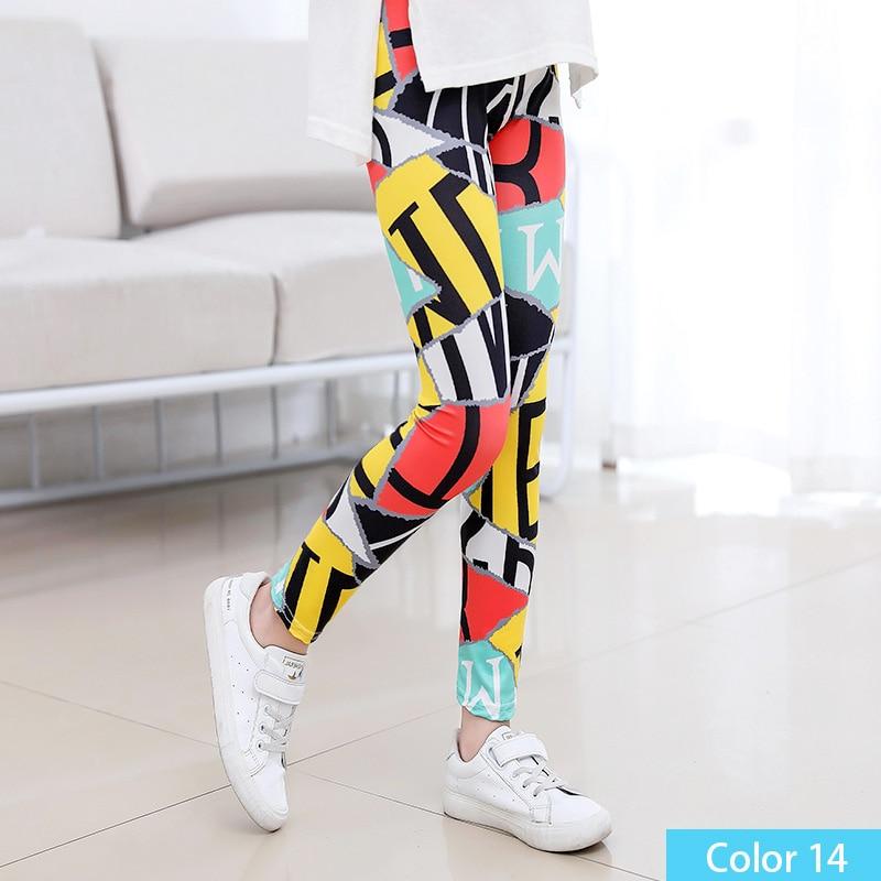 SheeCute/Леггинсы с принтом для девочек; одежда для маленьких девочек; Детские обтягивающие леггинсы с цветочным принтом; SC1752 - Цвет: color14
