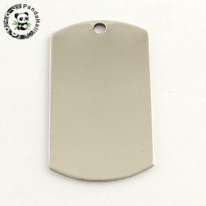 Image 1 - 201 colgante rectangular de acero inoxidable etiqueta para sellar en blanco, Color acero inoxidable, 43x24x1mm, agujero: 3mm