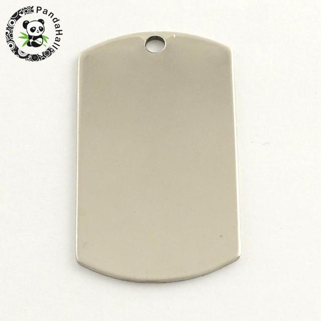 201 colgante rectangular de acero inoxidable etiqueta para sellar en blanco, Color acero inoxidable, 43x24x1mm, agujero: 3mm