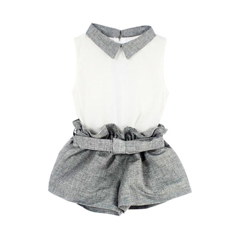 Baby Clothing Girl Baby Clothes Chiffon  Summer Girls Clothing Sets T-Shirt + Gray Pants New
