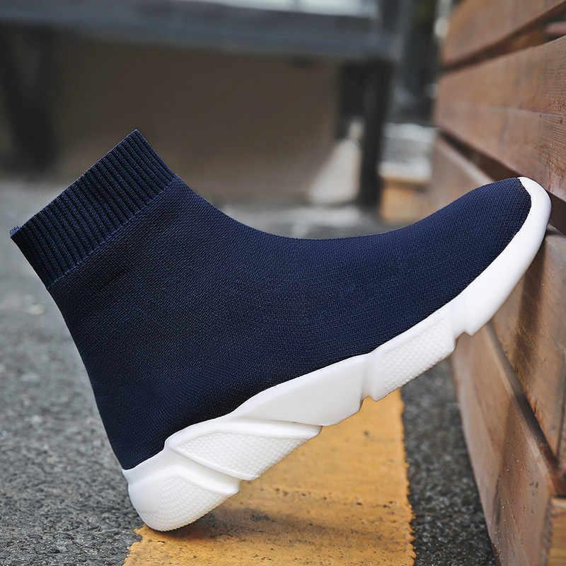 f4e06f4dd2e5 ... FEOZYZ Sneakers Women Men Knit Upper Breathable Sport Shoes Sock Boots  Woman Chunky Shoes High Top