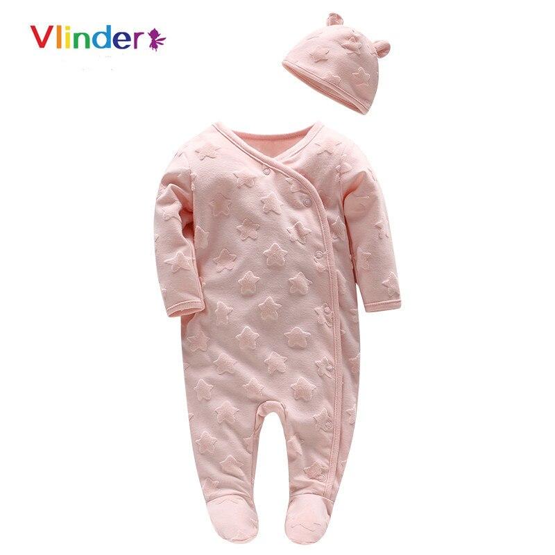 Vlinder 2pcs 2018 New Baby Girls Spring Autumn Oblique Lapel Button Stars Jumpsuit Cartoon Pink Hat Snug Long Sleeves Infant Set