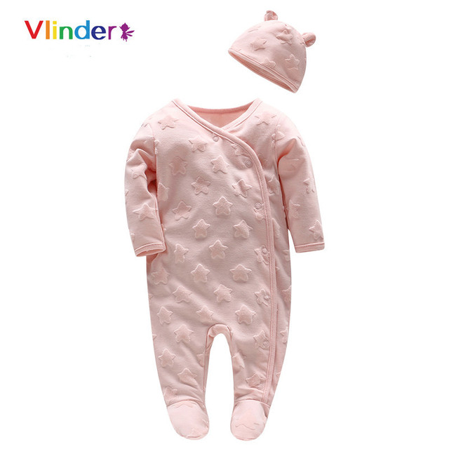 Vlinder 2pcs 2018 New Baby Girls Spring Autumn Oblique Lapel Button Stars Jumpsuit Cartoon Pink Hat Snug Long Sleeves Infant Set